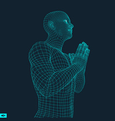 3d model of man man who prays vector