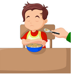 a boy eating cereals vector image