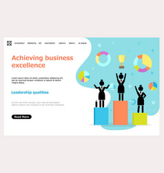 achieving business excellence landing page vector image