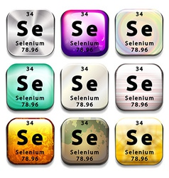 An icon showing the chemical selenium vector