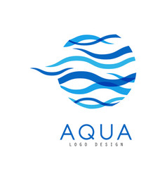 Aqua logo design corporate identity template with vector