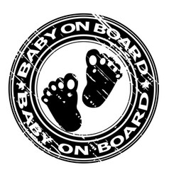 baby on board rubber stamp vector image