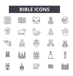 bible line icons for web and mobile design vector image