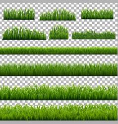 big set green grass borders transparent vector image