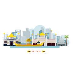 Brunei landmarks skyline vector