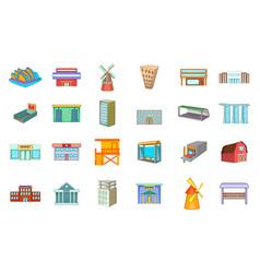 building icon set cartoon style vector image