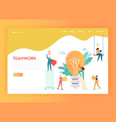 Business people teamwork concept landing page vector