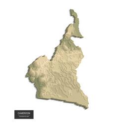 cameroon map - 3d digital high-altitude vector image