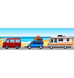 Camper vans parking along the road vector