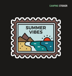 Camping adventure sticker design travel hand vector