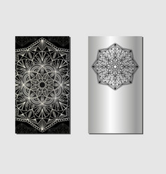 card with mandala silver vector image
