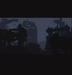 Cartoon background ruins city of vector