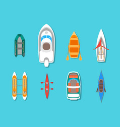 Cartoon color boats icons set top view vector