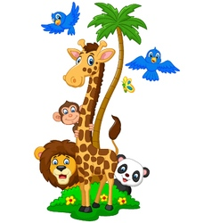 Cartoon island animals vector