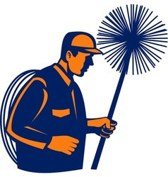Chimney sweeper or cleaner vector