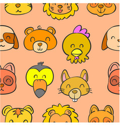 Collection animal head doodle style vector