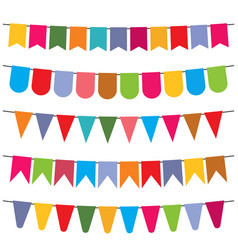colorful flags and bunting garlands for decoration vector image