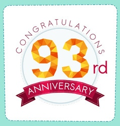 Colorful polygonal anniversary logo 3 093 vector