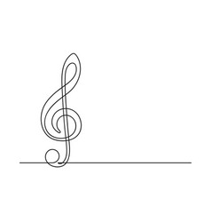 continuous one line drawing a treble clef vector image