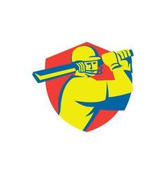 Cricket player batsman batting shield retro vector