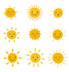 Cute happy sun with smiley face summer sunshine vector