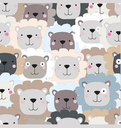 Cute lion cartoon seamless pattern vector