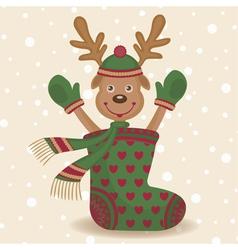 Cute reindeer and sock vector