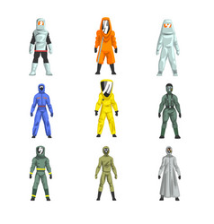 Different workers in protective suits set men in vector