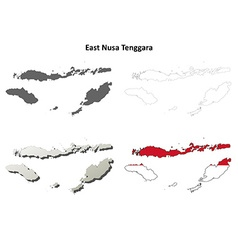 East Nusa Tenggara outline map set vector