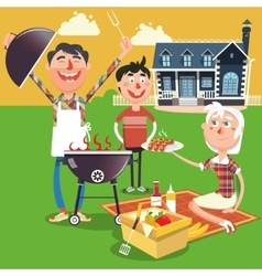 Family barbecue picnic cartoon vector