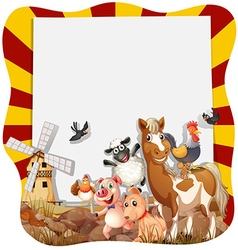 Farm animals around the frame vector