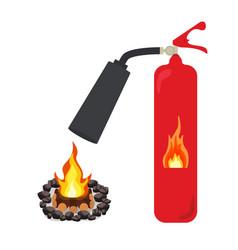 Fire extinguisher put out a fire bonfire vector