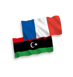 Flags france and libya on a white background vector