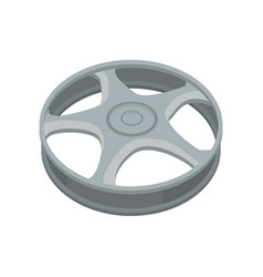 Flat icon of alloy wheel gray titanium car vector