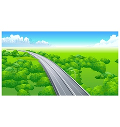flyover over green landscape vector image