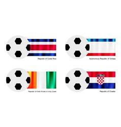 Football with Costa Rica Crimea Ivory Coast Flag vector image