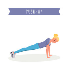 girl doing push ups flat vector image