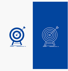 Goal hit market success target line and glyph web vector