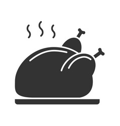 Grilled whole chicken glyph icon vector