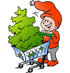 Hand-drawn of an Happy Christmas Elf shopping a vector