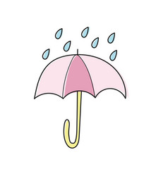 Hand drawn poster with umbrella and raindrops on vector