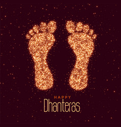 Happy dhanteras festival greeting with feet print vector