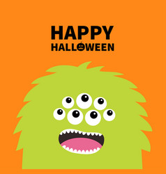 Happy halloween monster scary screaming face head vector