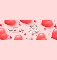 Happy valentines day horizontal banner vector