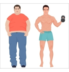 Health sport man and fat man infographic isolated vector