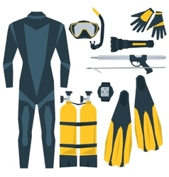 icons set of diving equipment vector image