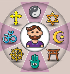 Infographic set of religious icons and man vector