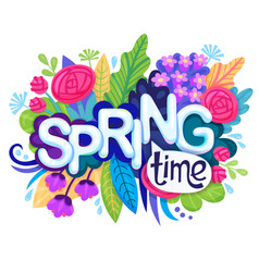 Inscription spring time on background with vector