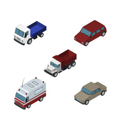 Isometric automobile set of lorry car auto and vector