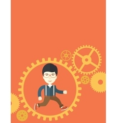 Japanese man running inside a gear vector image